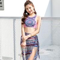 High Quality Woman Bikini Set Swimsuit High Neck Biquini Vintage Swimwear Shorts Ethnic Style Summer Beach