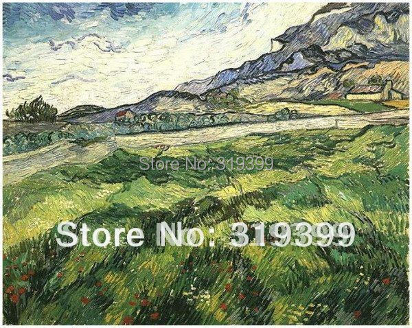 Linen Canvas Oil Painting reproduction,Green Wheat Field by Vincent Van Gogh,100% handmade,Free DHL Shipping,Museum qualityLinen Canvas Oil Painting reproduction,Green Wheat Field by Vincent Van Gogh,100% handmade,Free DHL Shipping,Museum quality