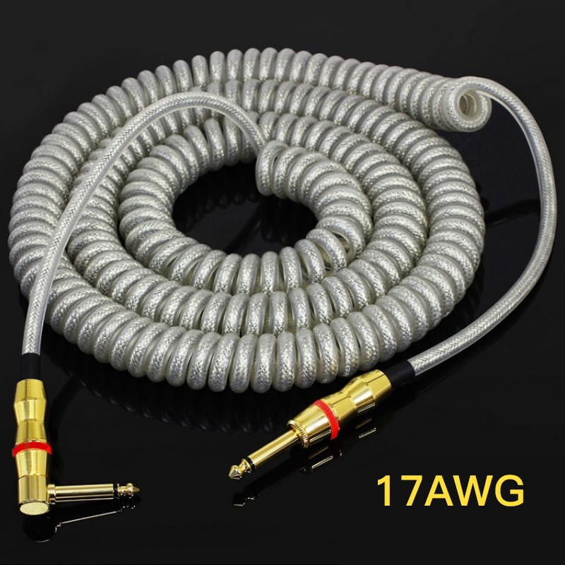 Guitar Audio Cable Electric Guitar Line Professional Musical Instruments Wire Cables Spring Phone Line Noise Reduction Shield