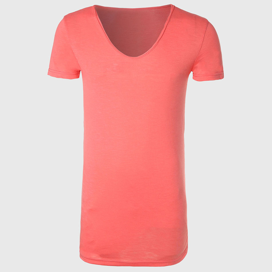 Zecmos longline t shirt with v neck mens long line t for Extra long shirts for tall men