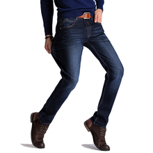 Spring Men's Jeans Elastic and Comfortable Denim Slim Fitting Cubic Cut Dark Color Size