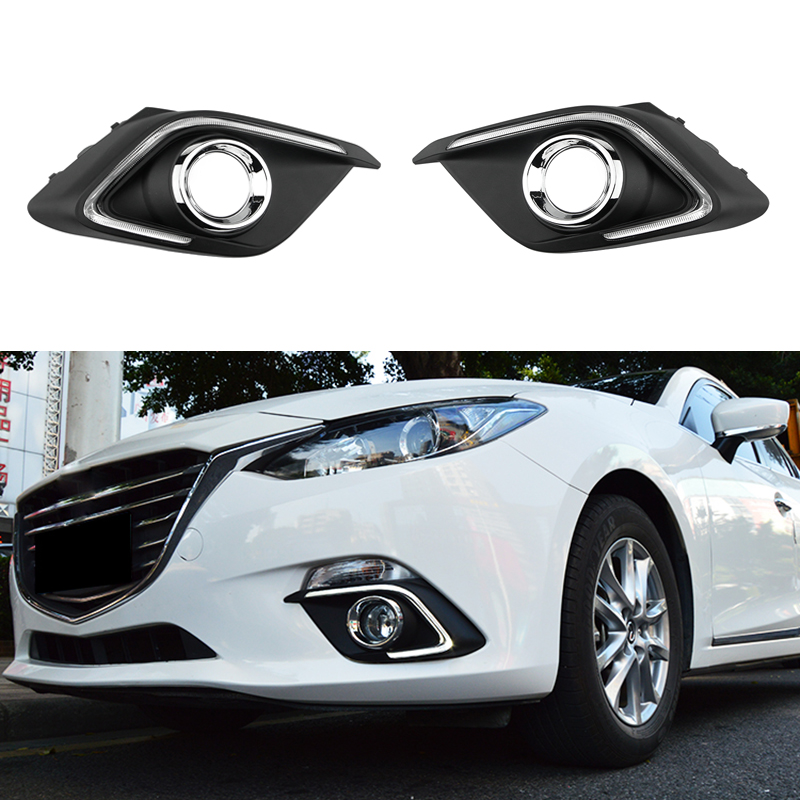 12V LED car DRL Turn Signal Light and Dimming Style Relay Daytime Running Lights With Fog Lamp Hole For Mazda 3 axela 2014 2015 led daytime running lights 1 set 12v drl for mazda cx 3 cx3 2016 2017 with fog lamp hole high quality