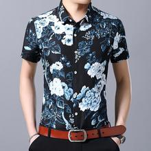Hawaiian Shirt Mens Clothing Beach style Flower Men Floral Blouse Fashion Black Blue Summer
