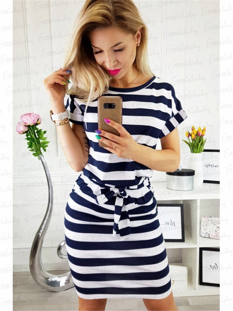 2019 Womens Short batwing Sleeve Bodycon striped Dress Ladies Summer Evening Party Striped Dress casual sashes cotton dresses