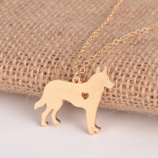Gold Silver 1pc German Shepherd Necklace Dog Jewelry Breed Pet  Christmas Gifts Dog Memorial  New Puppy Doggy Rescue for friends