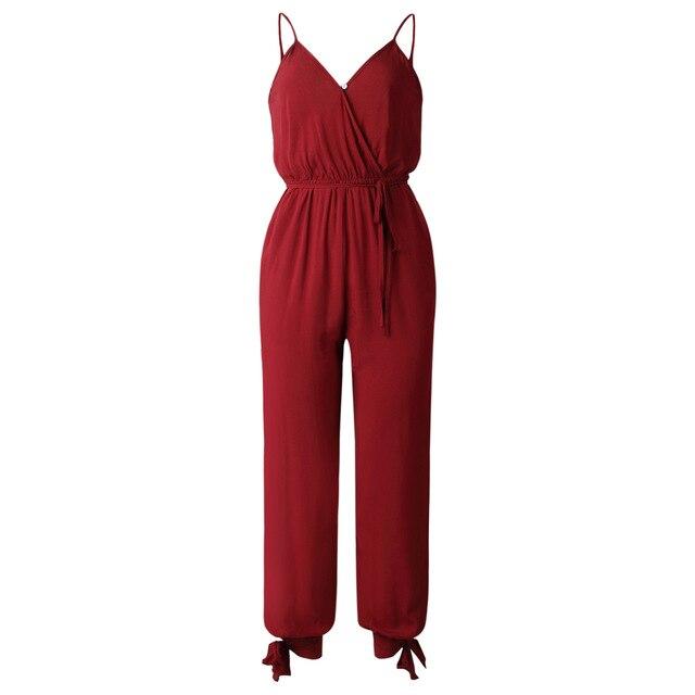 Wontive vino rojo con cuello en V Sexy trajes de las mujeres con cinturón con cuerpo de mujer monos mono