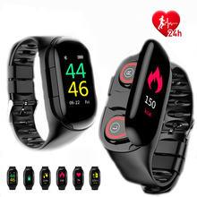 Беспроводные наушники браслет умные часы m1 мониторинг сердечного