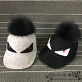 Wool, Riding Hat small monster demon eyes raccoon fur ball decorative female Baseball Cap Hat