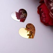 Espejo acrílico personalizado con diseño de nombre con corazones, decoración de boda, recuerdos de fiesta de compromiso, regalos para invitados, 30 uds., 6cm