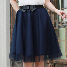 Tulle de La Falda 2016 Del Estilo Del Verano Cintura Elástica Arco Tutú Faldas Saias Femininas Faldas Para Mujer Plisado Gasa Más El Tamaño 6 Colores