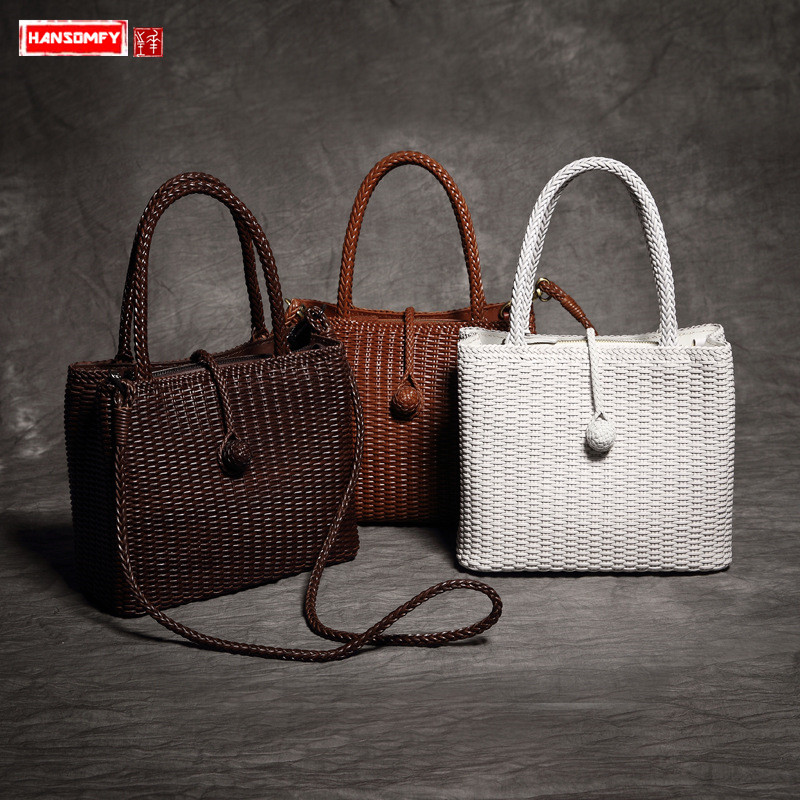 New hand-made Women handbags genuine leather weave trend retro ladies shoulder bag luxury fashion female messenger bags women new handbags retro genuine leather handbag shoulder bag head layer cowhide messenger bags female pure hand made bags