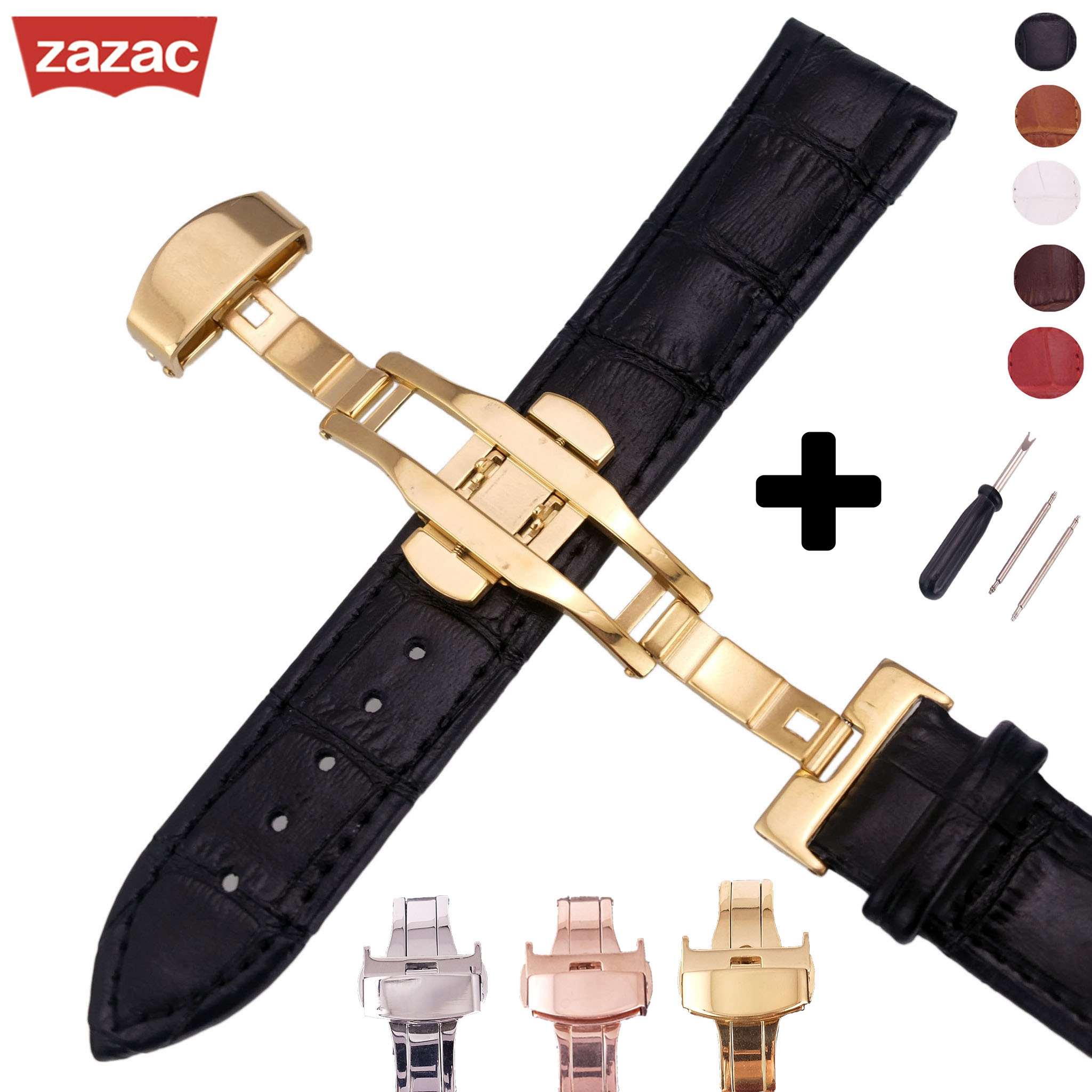 Genuine Leather Watchband Rose Gold Butterfly Buckle Watch Band Croco Grain Bracelet for Watch Strap 14 16 18 19 20 21 22 24mm