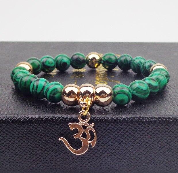 Metal Om With Beads Bracelet Elastic Rope