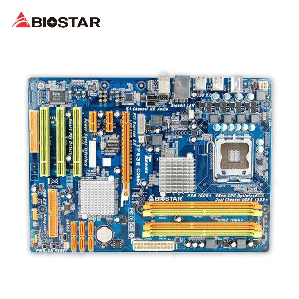 BIOSTAR TP43E Combo Original Used Desktop Motherboard P43 LGA 775 DDR2 8G SATA2 USB2.0 ATX used original for biostar hi fi a85s2 fm2 motherboard for amd a85 usb3 0 sata3 motherboard