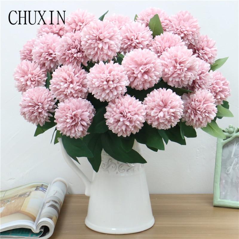 10 головок, букет листьев, искусственный цветок, шар, хризантема, высокое качество, свадьба, дорога, ведущий цветок, стена, украшение для дома, ...