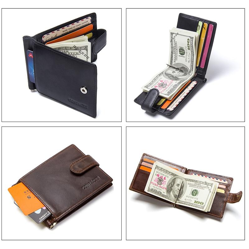 CONTACT'S Fashion Genuine Leather Money Clips High Quality Cow Leather Men Wallets Hasp Mini Purses vintage Men Wallet 3