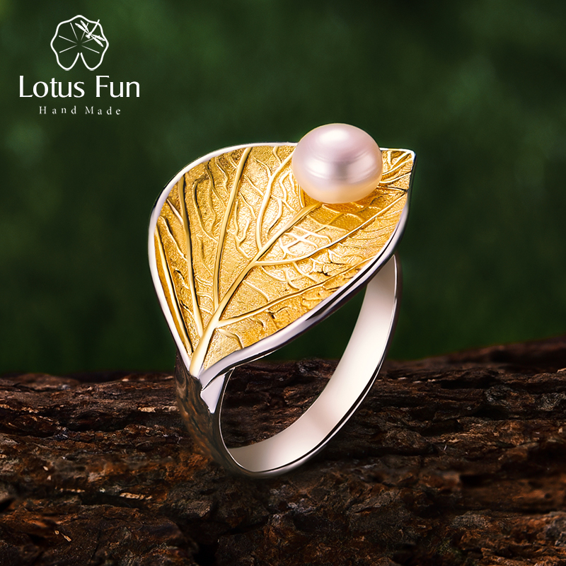 Lotus Fun Real 925 Sterling Silver Natural Pearl 18K Gold Leaf Ring Fine Jewelry Creative Designer Open Rings For Women Bijoux