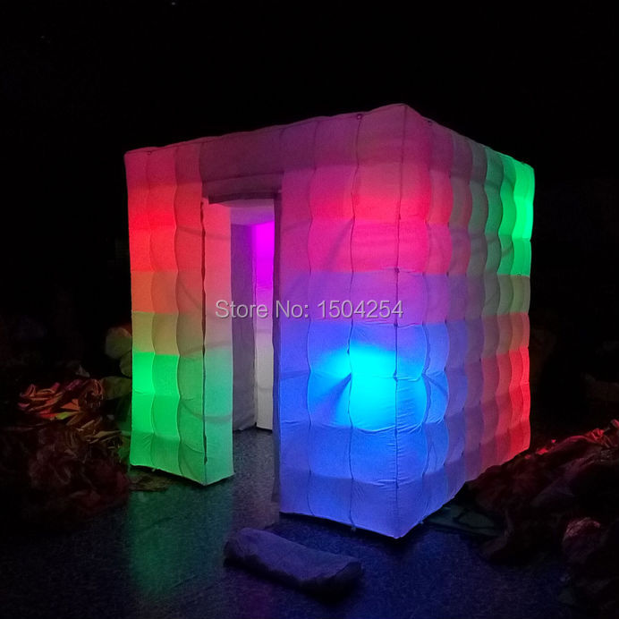 inflatable photo booth cube tent with colorful 8 pcs led light  studio inflatable tent  wonderful color toy tent free shipping 3x3x2 4m inflatable photo booth cube inflatable photo booth led inflatable photo booth for sale