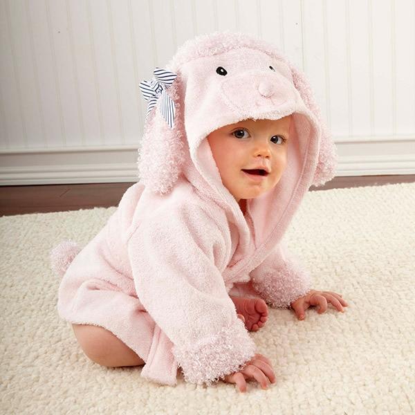 Розничная ; 16 дизайнов; детское банное полотенце с капюшоном; купальный халат с изображениями животных; детские пижамы с героями мультфильмов - Цвет: pink poodle