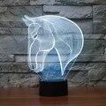 Juguetes de Los Niños Encantadores del bebé Caballo Ilusión 3D LED Noche Luces de Colores de Acrílico Lámpara de Mesa Para La Fiesta de Navidad de Regalo Decoración Para El Hogar