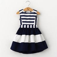 2016 Sweet New Kids Fashion Children Korean Style Clothing Sleeveless Summer Dress Girls Striped Navy Wind