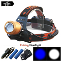 Headlight 2x CREE Q5 White and Blue Light Led Headlamp Adjustable Zoomable Head Torch Outdoor Head Light Fishing Head Lamp