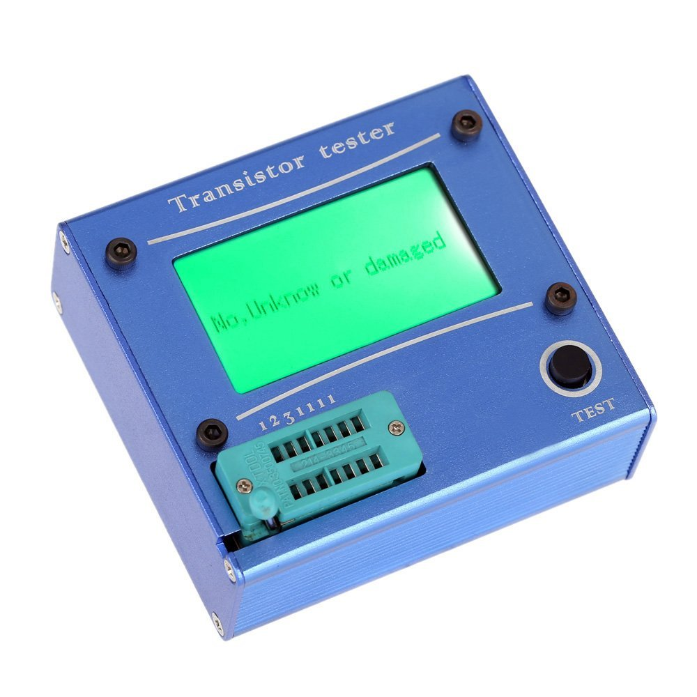 Multifunction LCD backlight transistor tester diode thyristor Capacitive ESR LCR meter with blau plastic housing