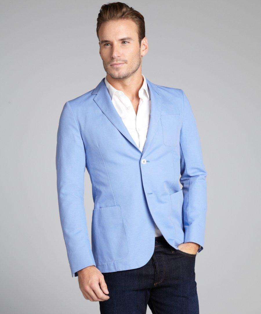 Mens jacket light blue - Latest Coat Pant Designs Light Blue Casual Custom Made Beach Summer Wedding Suits For Men Groom