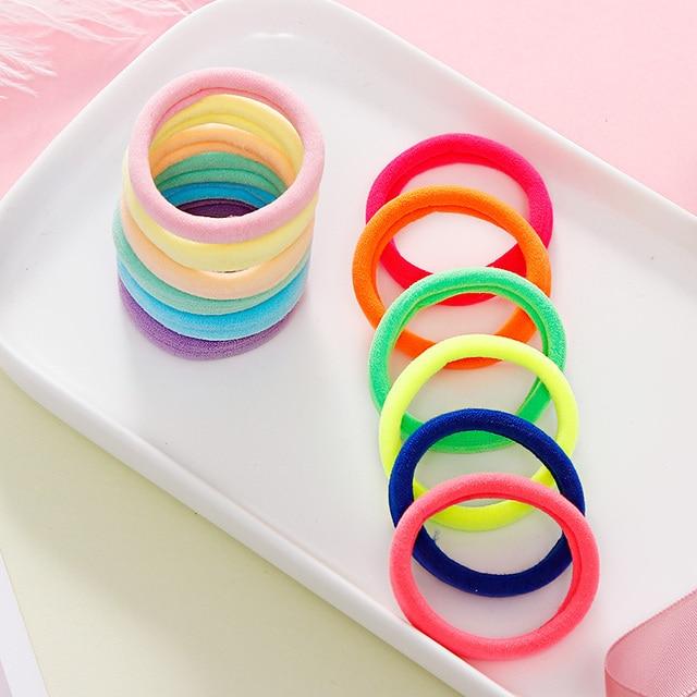 50/100PCS/Set Women Girls 4CM Colorful Nylon Elastic Hair Bands Ponytail Holder Rubber Bands Scrunchie Headband Hair Accessories 4