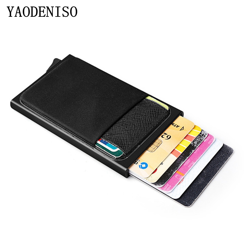 MEN Aluminum Wallet With Back Pocket ID Card Holder Rfid Blocking Mini Slim Metal Wallet Automatic Credit Card Case Protector