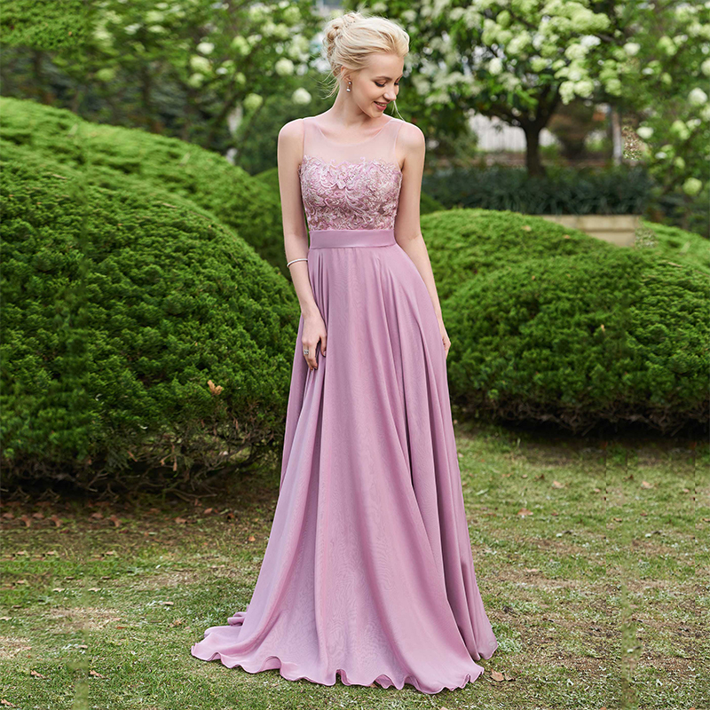 Dressv-Scoop-Neck-Bridesmaid-Dress-Sleeveless-Floor-Length-A-line-Lace-Sashes-Ribbons-Wedding-Party-Dress