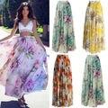 Новое поступление 2019, женские модные шифоновые юбки в стиле бохо с цветочным принтом, летний сарафан, женские пляжные юбки