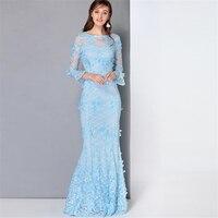 UNIQUEWHO Women Long Lace Dress White Blue Slim Elegant Maxi Dress Summer Flower Appliques Dresses Ladies Evening Party Dress