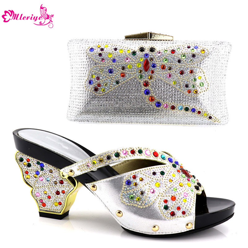 New Arrival High Quality African Wedding Shoes and Bag Set Decorated with Rhinestone African Shoes and Bag Set for Party Italian doershow ladies italian shoes and bag set decorated with rhinestone african wedding shoes and bag set party black shoes svp1 15