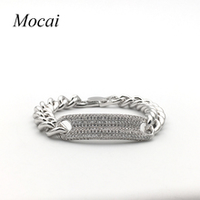 Steampunk Thick Chain Link Bracelet Ring Jewelry Fashion Micro Pave Cubic Zirconia Silver Charm Bracelets rings Women ZK40