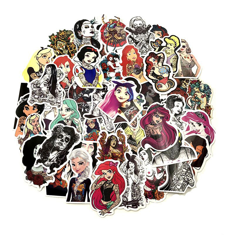50Pcs/Lot Styling Pvc Waterproof Sexy Beauty Tattoo Girls Stickers For Laptop Motorcycle Skateboard Luggage Decal Toy Sticker