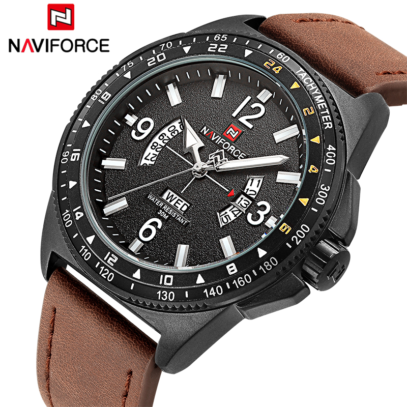 NAVIFORCE Men Sports Watches Luxury Brand Men's Quartz Date Clock Man Army Military Leather Wrist Watch Relogio Masculino luxury brand men s quartz date week display casual watch men army military sports watches male leather clock relogio masculino