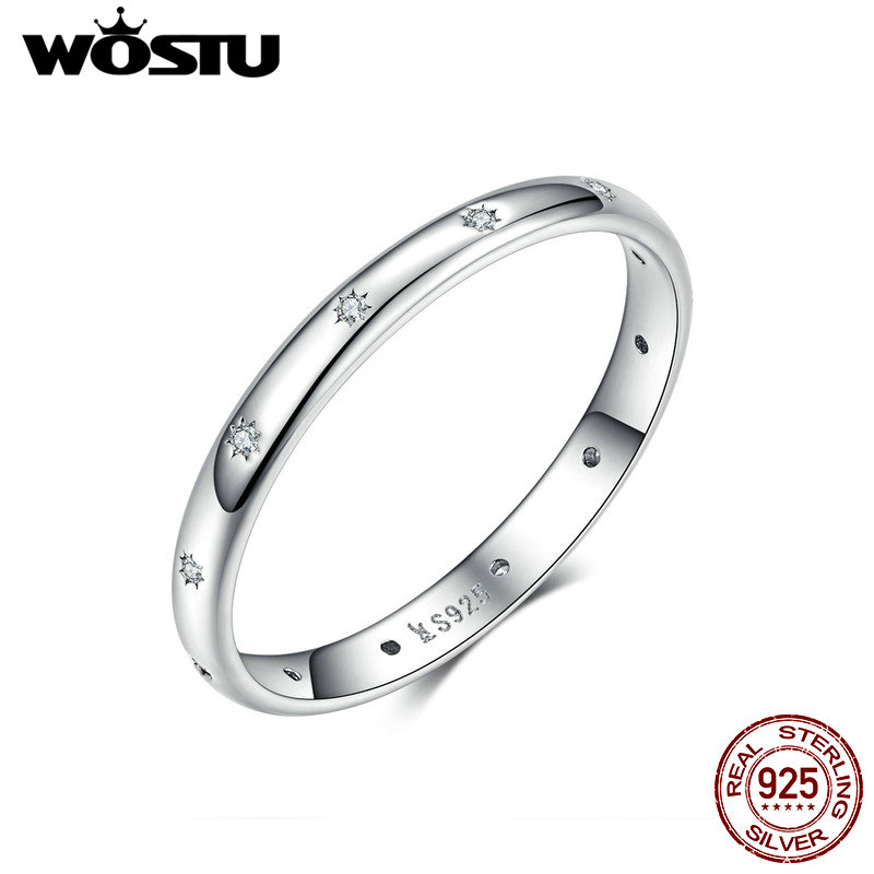 WOSTU 100% 925 Sterling Silver Fashionable Simple Wedding Ring Zircon Stackable Finger For Women Engagement Jewelry CQR546(China)