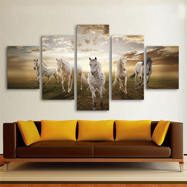 QKART 5 Panels Animal Painting The White Running Horses Art Wall ...