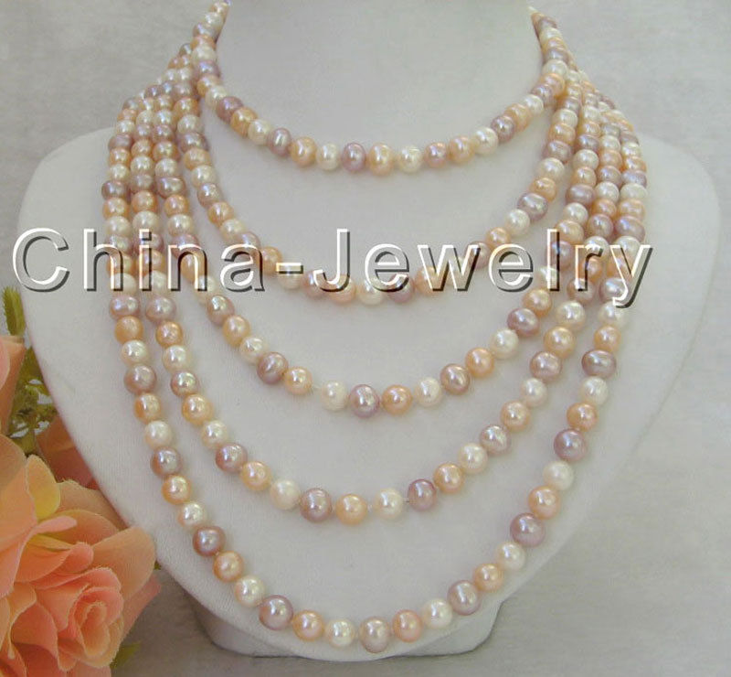"""100"""" Long 8-9mm natural white pink purple round freshwater pearl necklace"""