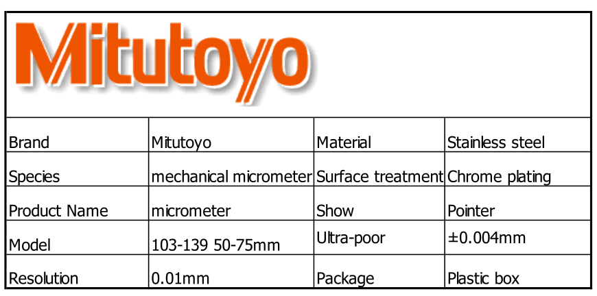 100 Japan Mitutoyo Outside Micrometer 103 139 Mechanical Micrometer