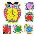 DIY Arte Artesanía Materiales EVA 3D Niños Juguetes Educativos Para Los Niños Más Pequeños Hechos A Mano Animal de la Historieta Relojes Educación Temprana DY08