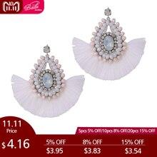 Badu Crystal Baroque Fringe White Earring Women Black Tassel Chandelier  Dangle Earrings Winter Fashion Jewelry Christmas f54180a4c247