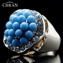 Chran Valentines Gift Unique Gold Color Simi Beads Rings Fashion Clear Crystal Promised for Women