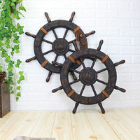 Mediterranean Ship Wooden rudder helm wall decorations Shipping steering wheel Creative Bar wooden decorations Photographic fig