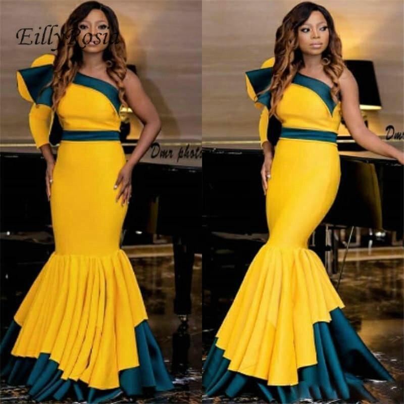2019 jaune sirène robes de soirée nigéria volants contraste couleur une épaule formelle femmes robe de soirée dames dlugie sukienki