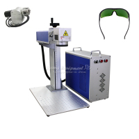 20W 30W 200x200mm CNC Fiber Laser Metal Marking Machine With Glasses For Aluminum Gold Silver Brass Stainless Steel Engraving