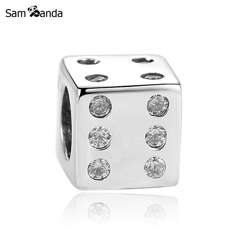 Charms 925 Sterling Silver Original Fit Pandora Bracelet Crystal Lucky Dice Charm Beads For Jewelry Making DiyCharms 925 Sterling Silver Original Fit Pandora Bracelet Crystal Lucky Dice Charm Beads For Jewelry Making Diy
