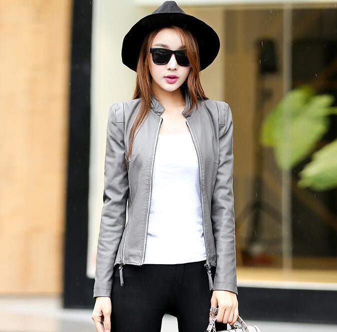 2018 New Autumn Leather Jacket Women Black Color Mandarin Collar Zippers Short Female Faux Leather Jackets 4