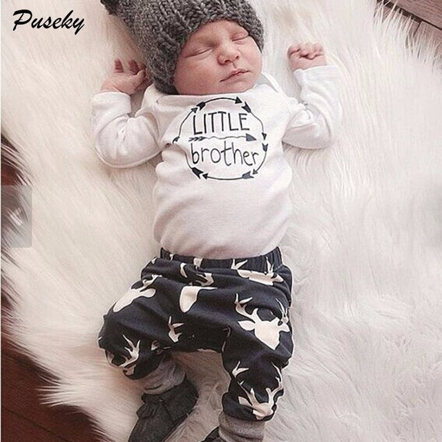 Newborn baby boys little brother clothes sets tops romper long pants cute animals cotton hat